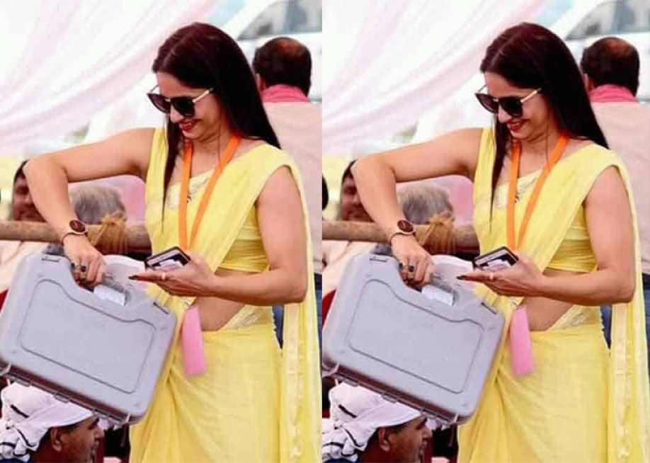 Yellow sari polling officer reena dwivedi hit the internet overnight