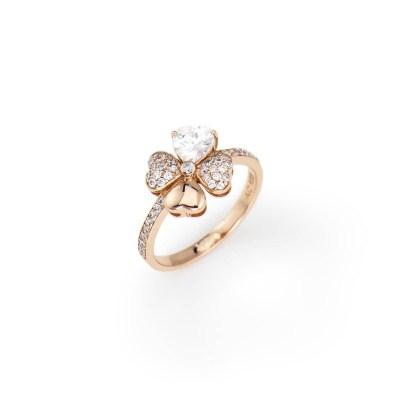 Anello quadricuore con zirconi bianchi e viola, Argento 925 oro