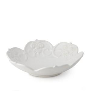 Ciotola porcellana bianca trama a fiori