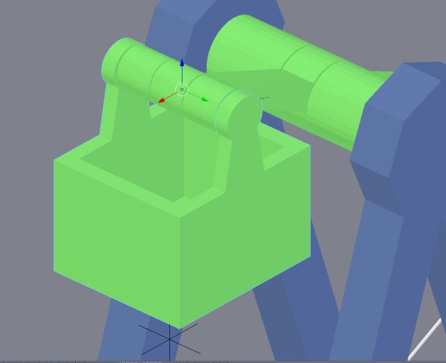 Bucket mounted on axle