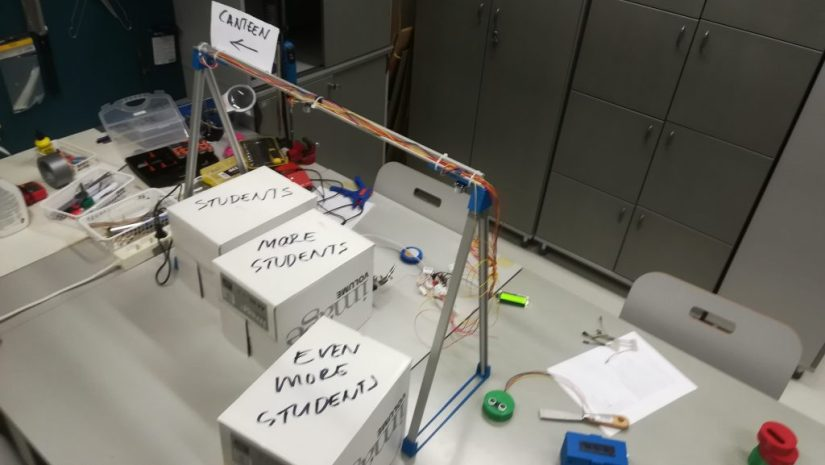 The system test bench. Note boxes that simulate students.