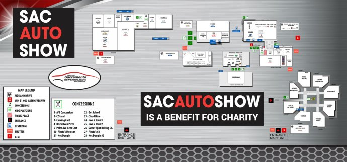 Show map of the 2018 Sacramento International Auto Show at Cal Expo, Sacramento, California