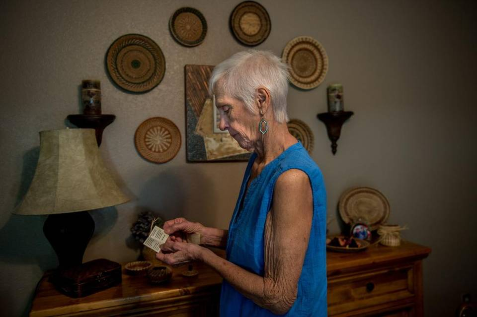 After an active life of golf and gardening, weaving baskets from pine needles is one of the few activities that Gale Kilgore of Pine Grove can can keep herself busy with when her energy is low from cancer.