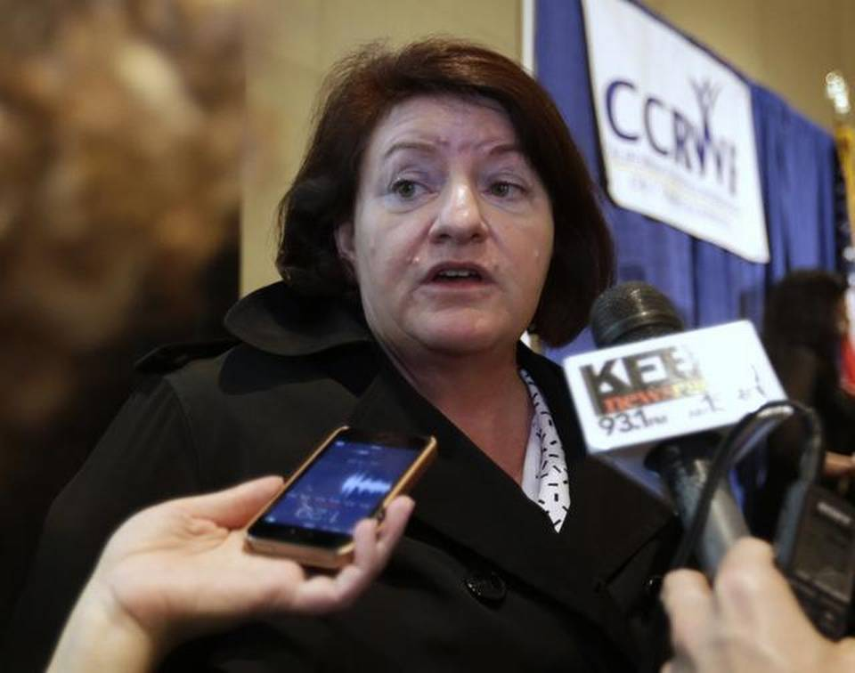 Assembly Speaker Toni Atkins, D-San Diego, talks with reporters after speaking at the 2015 California Women's Policy Summit in Sacramento on Wednesday, Jan. 14, 2015. Recalling her upbringing in Appalachia, Atkins told the gathering of women advocates that social services helped her rise out of poverty.