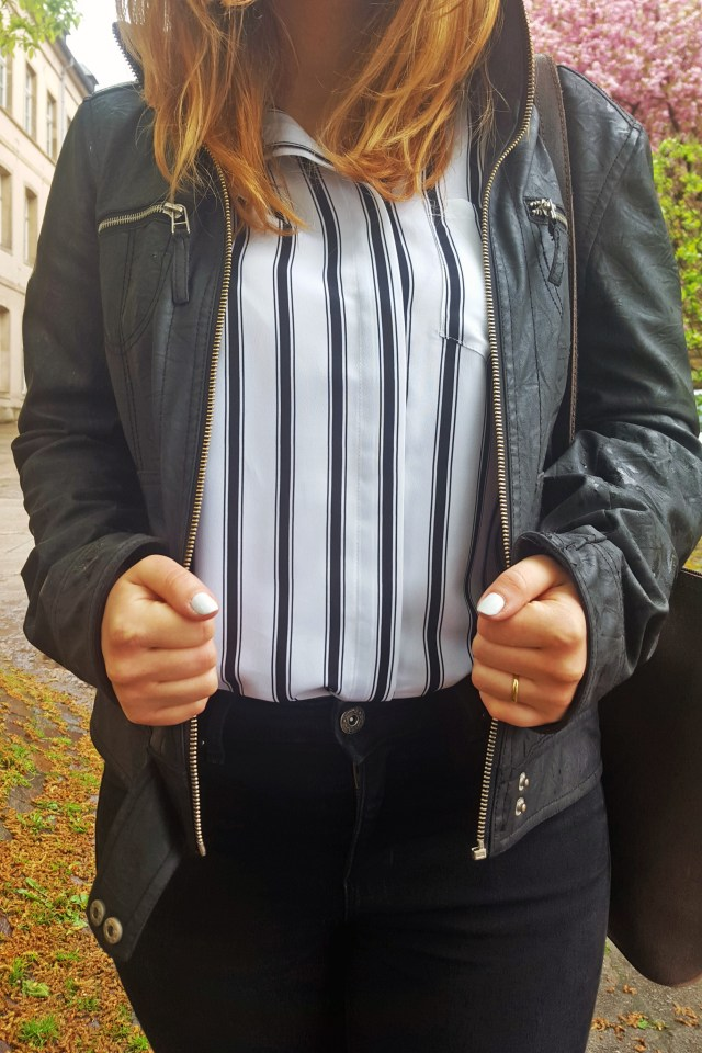 striped shirt outfit closeup