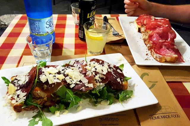 Bruschetta for dinner in Lucca_