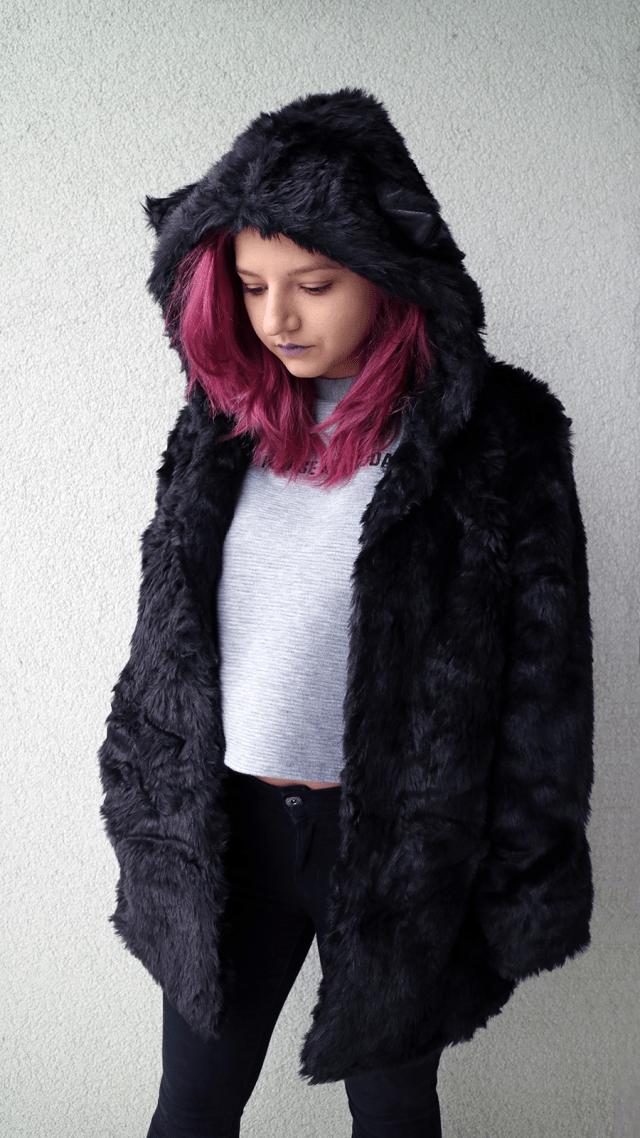black faux bear fur