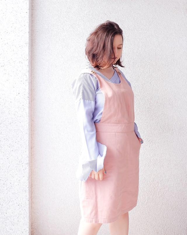 back to school outfit- apron pinafore pink - joanie clothing 4