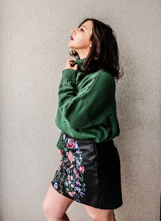 chunky knit sweater and embroidered skirt