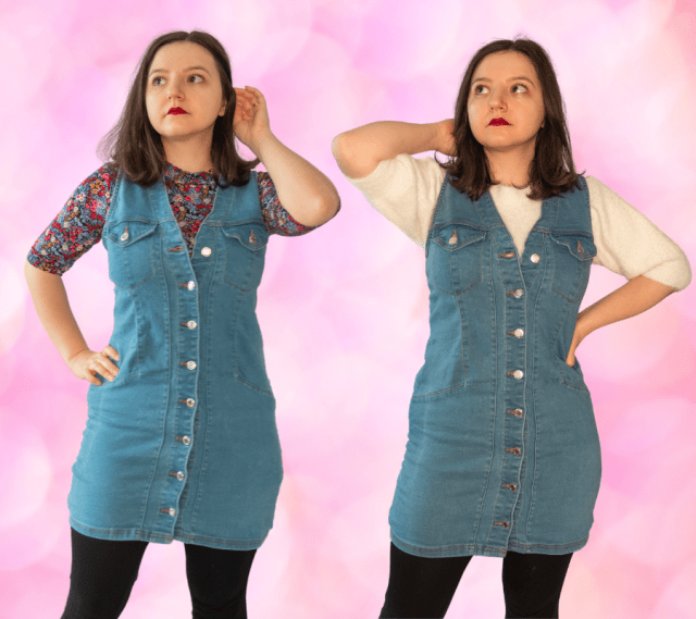 wear denim pinafore in winter
