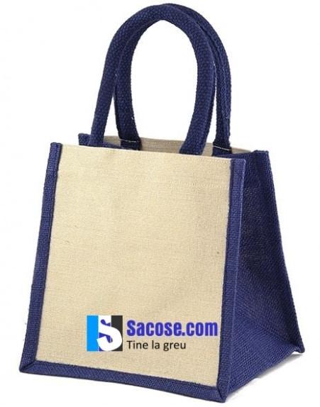 1-sacosa iuta - Jute Mini Gift Bag - 20x20x12 cm-albastru
