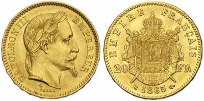 Exemple de pièce en or cotée : pièce française en or de Napoléon III