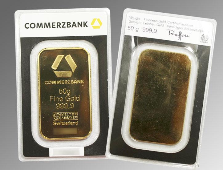 Exemple de lingot d'or de 50 grammes scellé de la Commerzbank