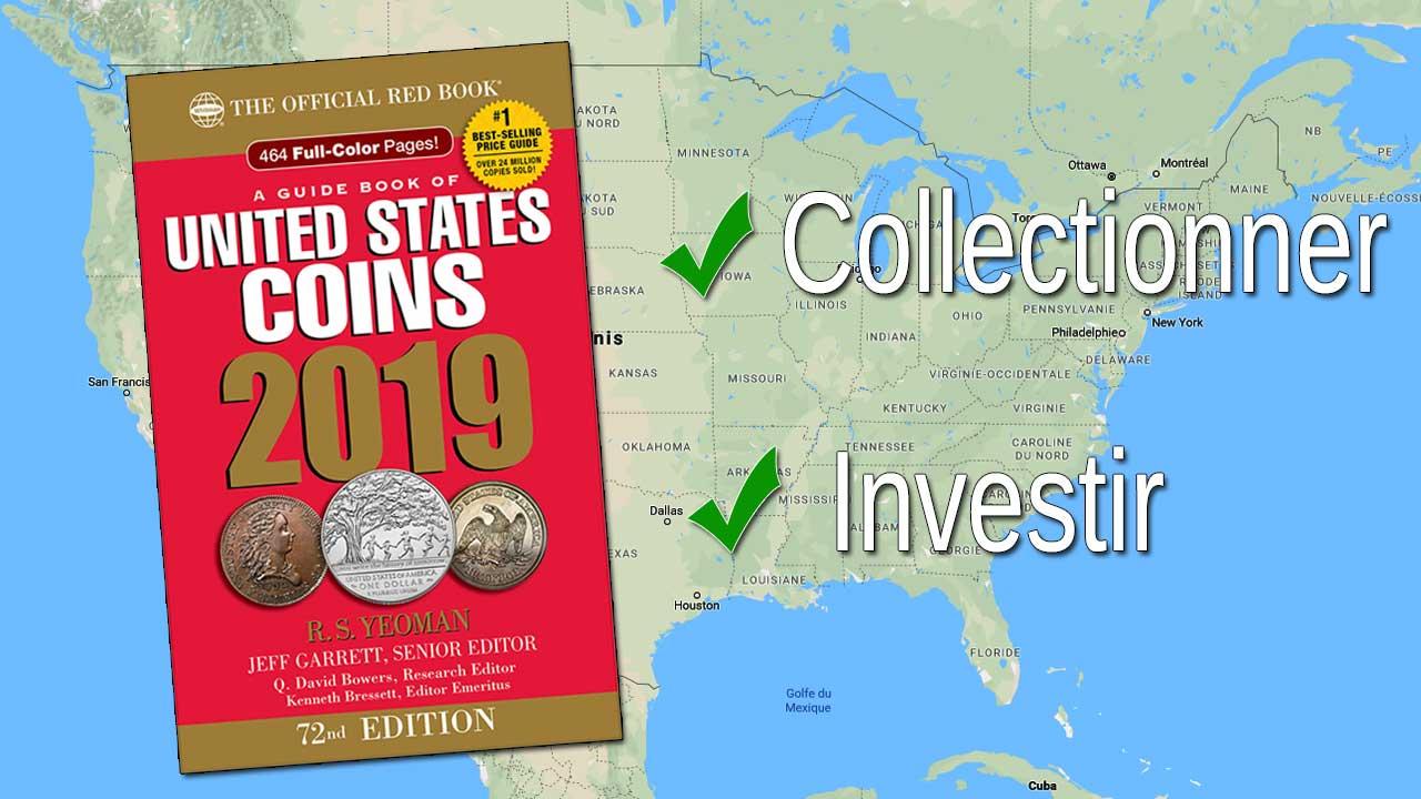 Carte des Etats-Unis avec la couverture du Red Book au premier plan
