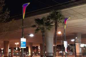 SacRT Light Rail Station Lit Up with Dynamic LED Art Installation