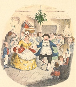 Mr. Fezzwig's Christmas, frontispiece from 1843 Dickens' A Christmas Carol (Public domain)