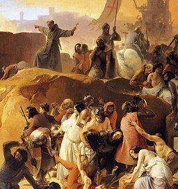 Detail of Crusaders Thristing near Jerusalem, by Francesco Hayez, 1836-50 (Public Domain Image)