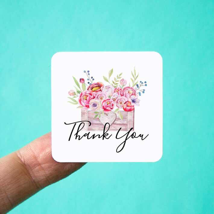 Square Flower Box Thank You Stickers
