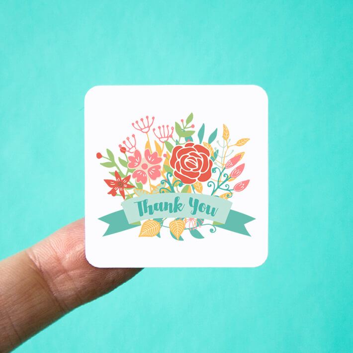 Square Floral Bouquet Thank You Stickers