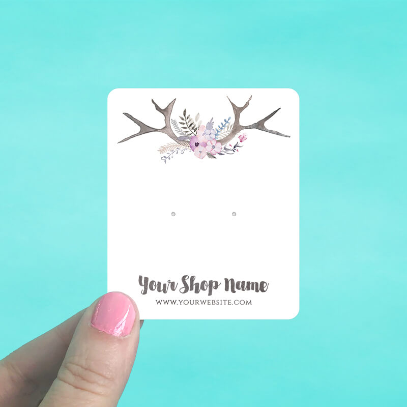 Pastel Antlers Jewelry Display Cards