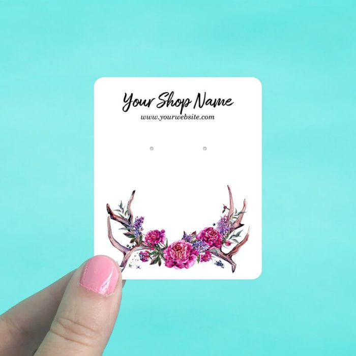 Pink Floral Antlers Jewelry Display Cards