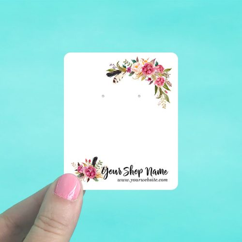 Floral Feather Corners Jewelry Display Cards