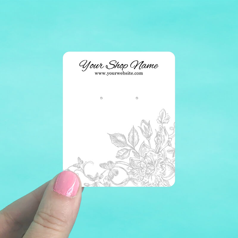 Gray Floral Jewelry Display Cards