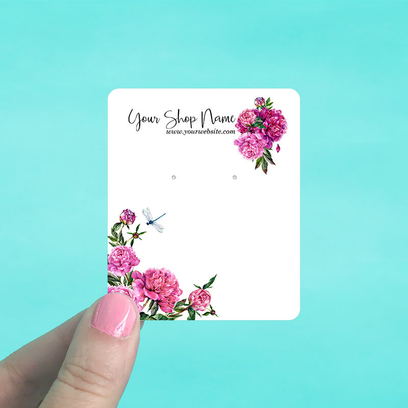 Flowers and a Dragonfly Jewelry Display Cards