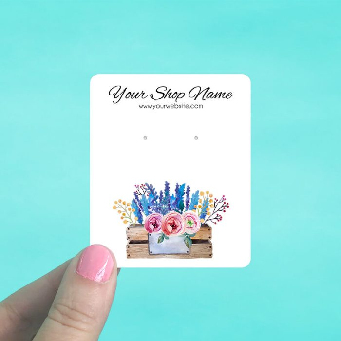 Rustic Flower Box Jewelry Display Cards