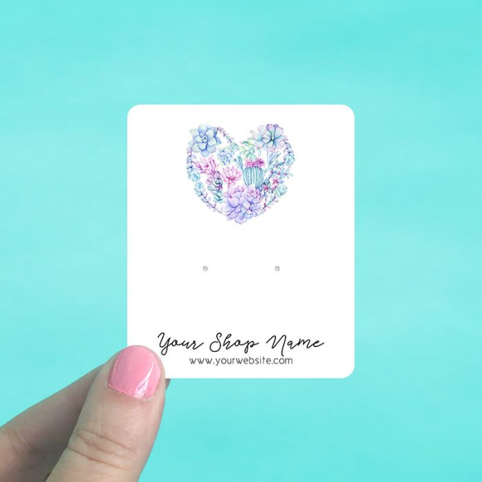 Succulent Heart Jewelry Display Cards