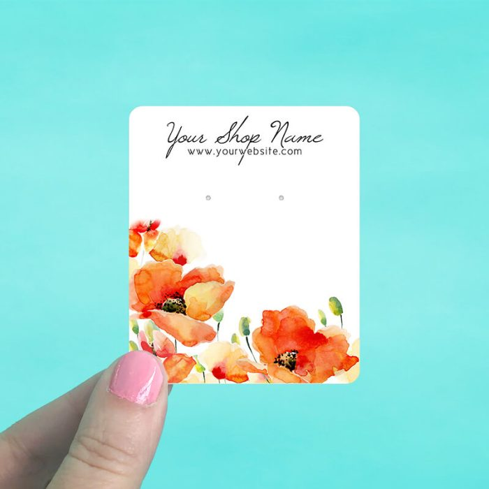 Orange Poppies Jewelry Display Cards