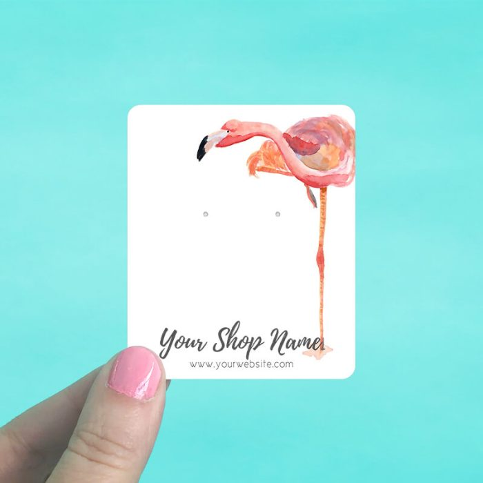 Tall Flamingo Jewelry Display Cards