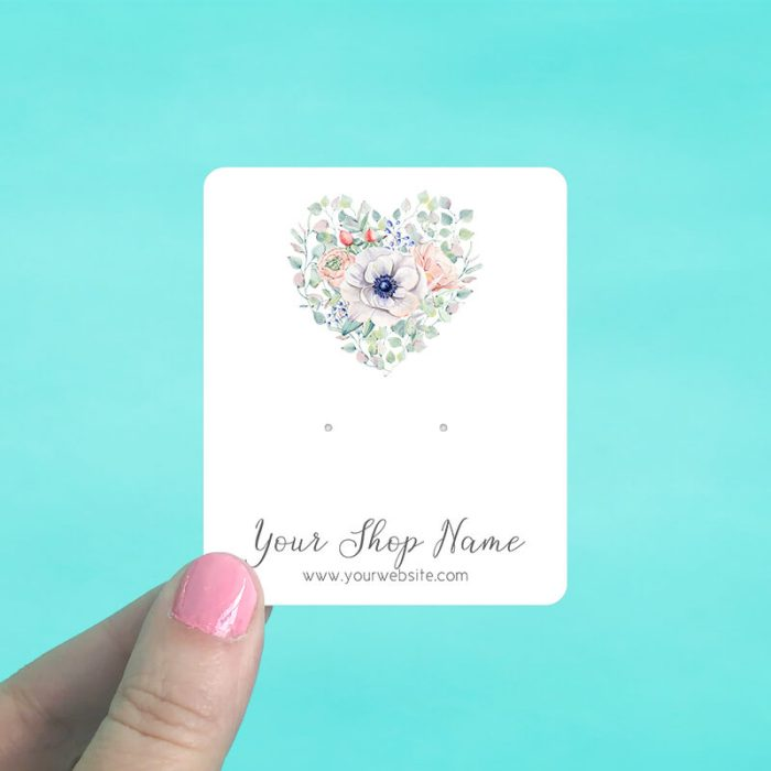 Floral Heart Jewelry Display Cards