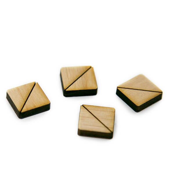Square Half Wood Cabochons