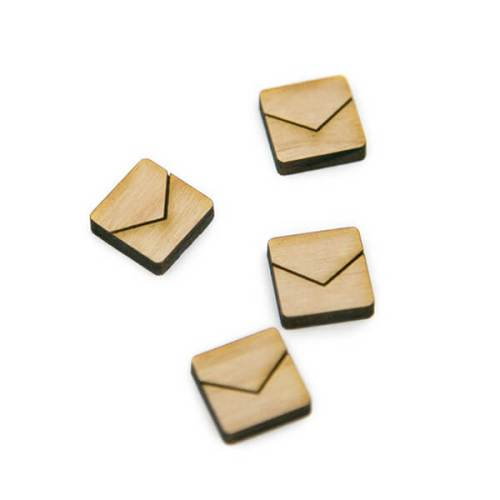 Square Half Chevron Wood Cabochons
