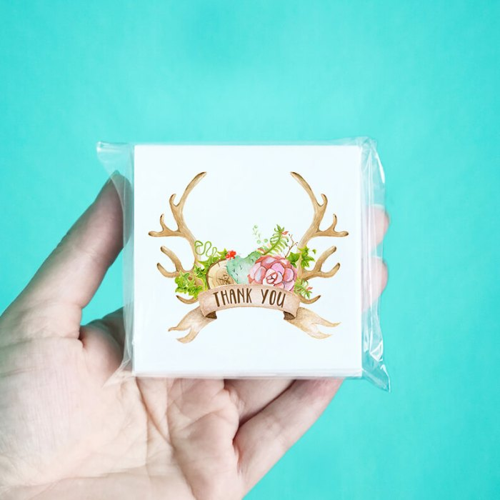 Antlers & Succulents Thank You Note Cards and Envelopes