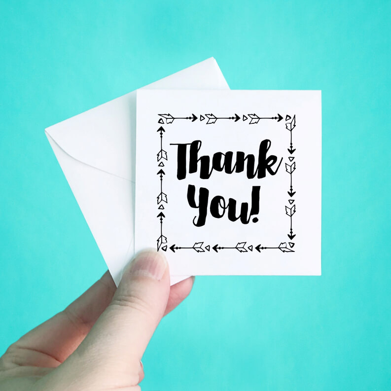 Arrow Frame Thank You Note Cards and Envelopes