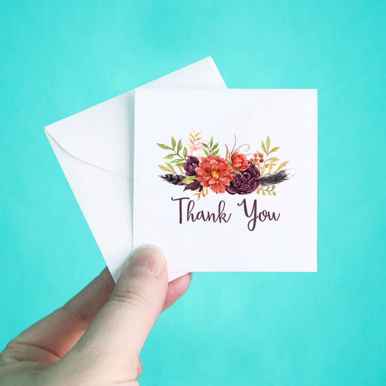 Dark Floral Mini Thank You Note Cards