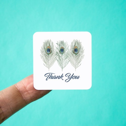 Peacock Feathers Thank You Stickers