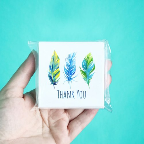 Bright Feather Mini Thank You Note Cards
