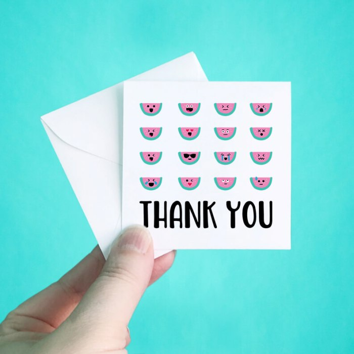 Watermelon Faces Mini Thank You Note Cards
