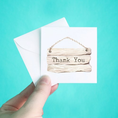 Wood Sign Mini Thank You Note Cards