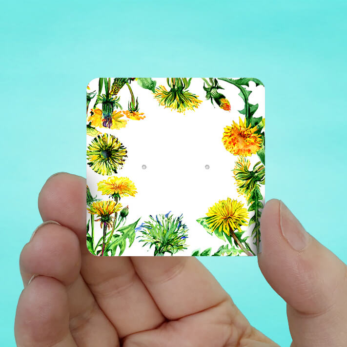 Yellow Dandelion Stud Earring Cards