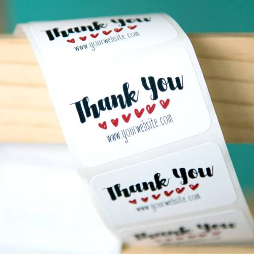 Row of Hearts Personalized Thank You Stickers