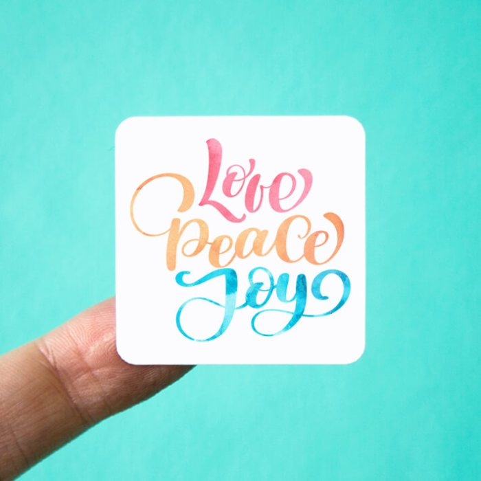 Love Peace Joy Square Stickers