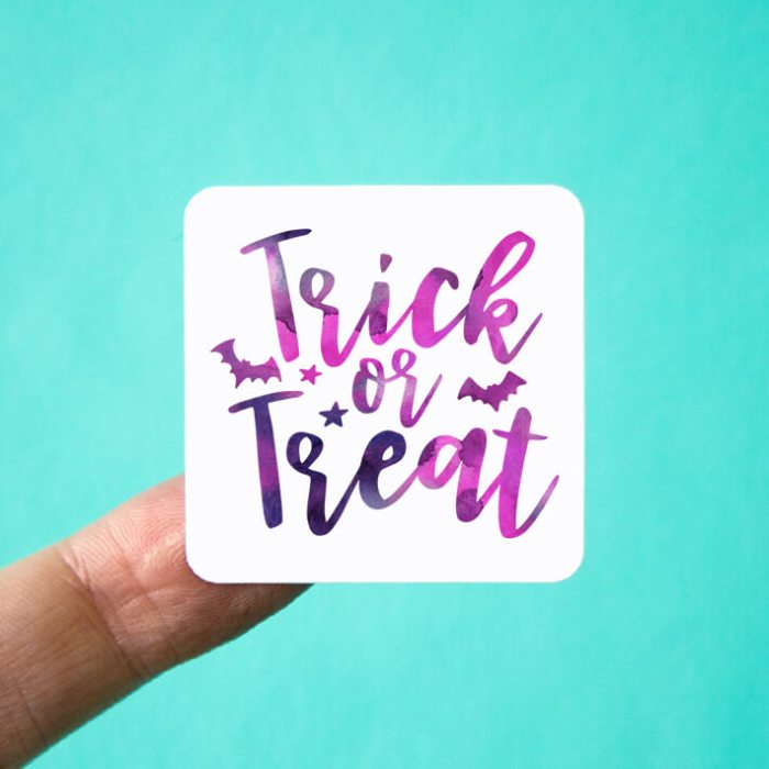 Trick or Treat Square Stickers