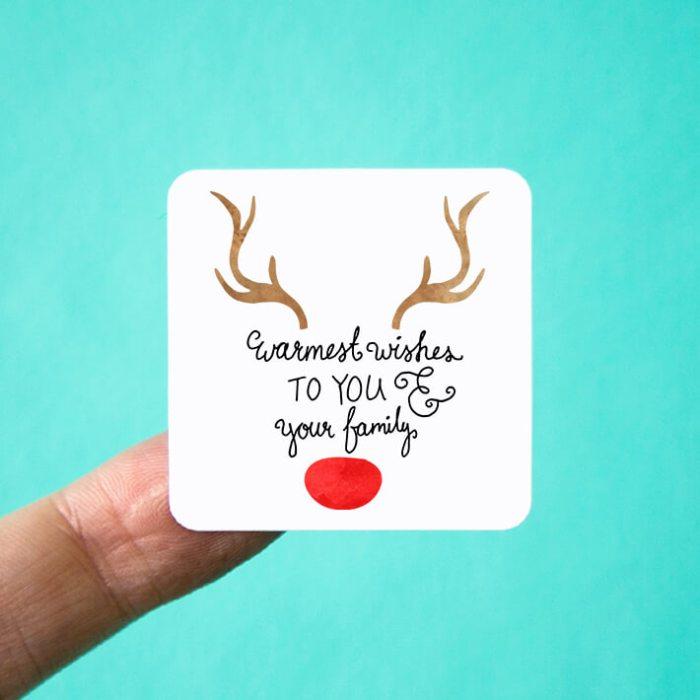 Warmest Wishes Reindeer Stickers