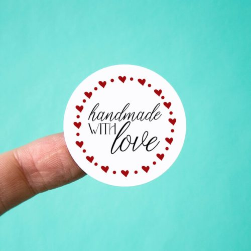 Handmade with Love Hearts Stickers