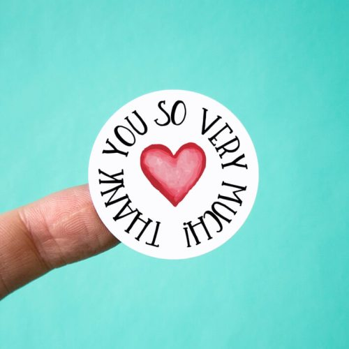 Watercolor Heart Thank You Stickers