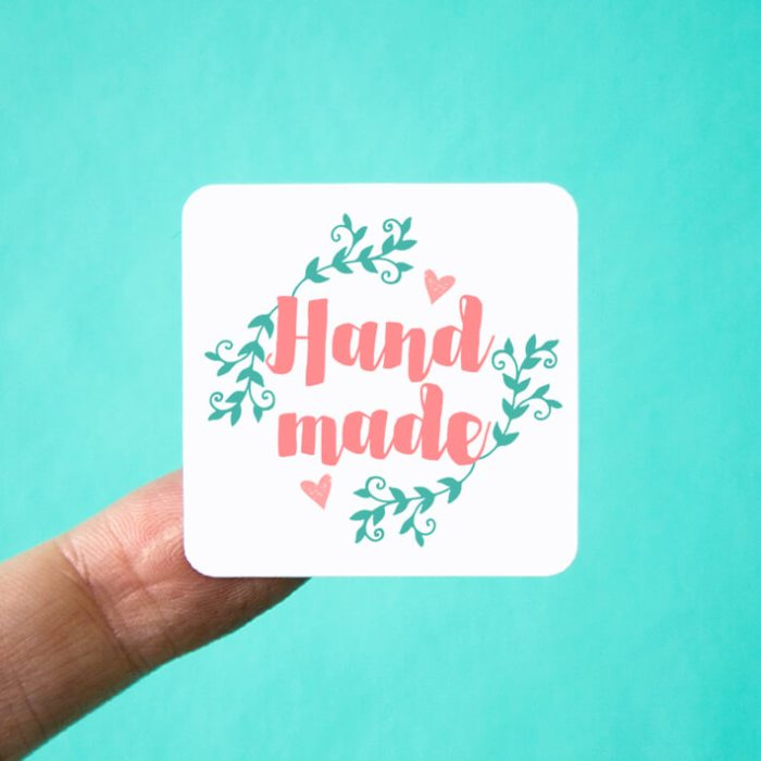 Floral Handmade Square Stickers